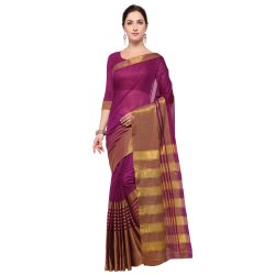 Purple Colored Art Silk Plain Saree