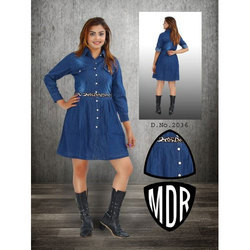 Ladies Denim Shirt Belt Dress