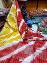 Linen Check Shibhori Printed Sarees