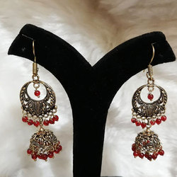 Oxidized German Silver with Red Beads Jhumka