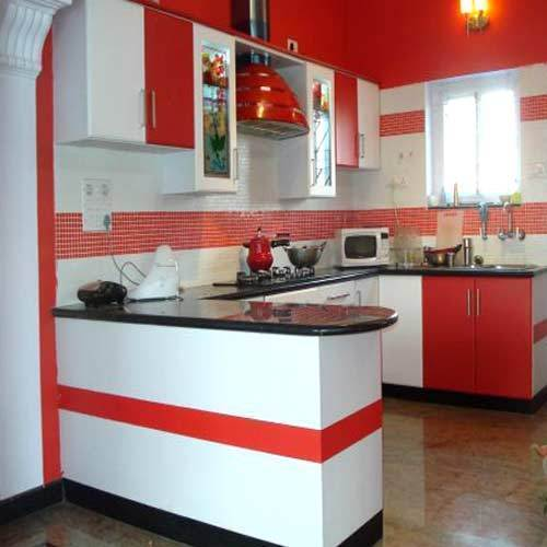 Kitchen Images Modular Kitchen Design Large Latest Designs: Red,White Modern Modular Kitchen, Rs 1700 /square Feet