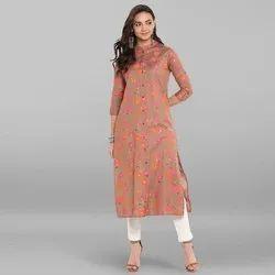 Casual Wear Straight Ladies Stylish Printed Rayon Kurti, Size: S-XXL, Wash Care: Handwash