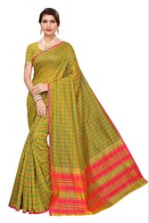 Cotton Silk Party Wear Mehendi Saree With Blouse Piece