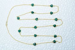 Trillion Shape Dyed Emerald 8mm 36 Inch Long Station Chain Handmade Necklace