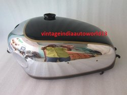 New Velocette Venom Chrome And Black Painted Gas Fuel Petrol Tank (With Side Badges Mount)