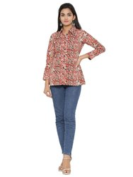 Yash Gallery Womens Cotton Kalmakari Print Shirt