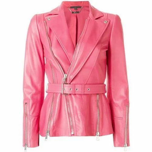 novel design search for latest unequal in performance Women Light Pink Leather Jacket