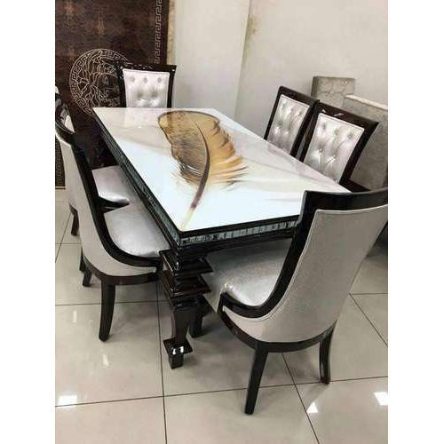 6 Seater Modern Wooden Dining Table Set