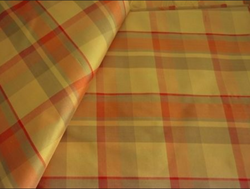 Red And Yellow Silk Checks Fabric