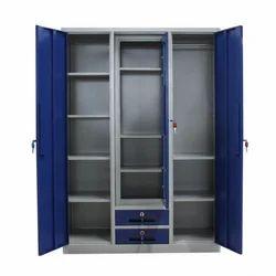 Grey & Blue Stainless Steel Almirah