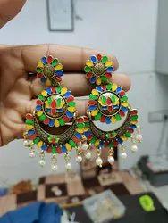 Golden Mazak Minakari Earrings