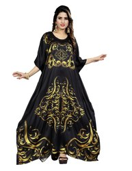 Black Color Digital Printed Free Size Satin Silk Long Kurta Kaftan For Women