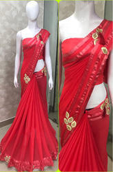 Heavy Georgette Dark Pink Saree