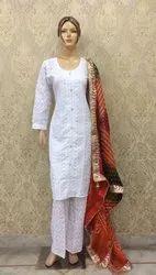 Chikan Suit with Bandhani Dupatta