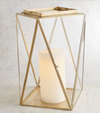 Metal And Glass Golden Modern Large Lantern