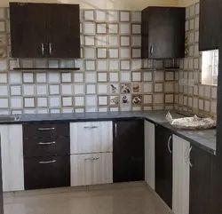 L Shape Residential MDF Modular Kitchen, Warranty: 1-5 Years