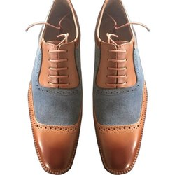 Mens Hand Painted Patina Finish Leather Shoes
