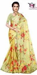 Shivang 1 Pc Moss Chiffon Border Printed Saree