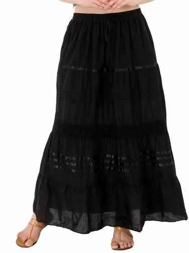 Cotton Long Black Party Floral Maxi Skirt, Size: S to XXL