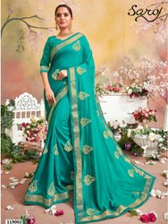 Designer Vichitra Silk Border Saree