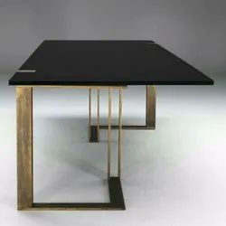 Polished Antique Finish Metal Glass Table, For Hotel