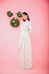Cream Moss Floral Pallu Style Gown With Belt