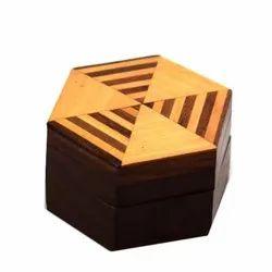 Hexagonal Handmade Natural Design Wooden Box