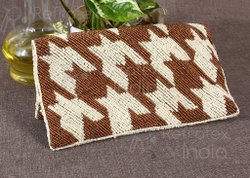 Designer Brown and White Combination Beaded Hand Clutch