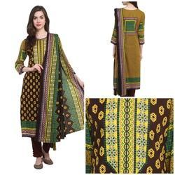 Uptown Galeria Brown & Green Cotton Lawn Suit, Packaging Type: Box