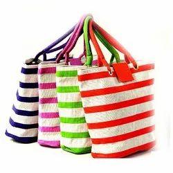Striped Printed Jute Bag