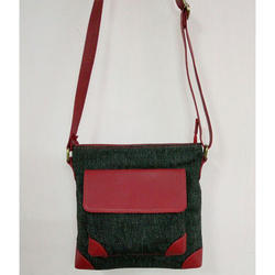Leather Canvas Sling Bag