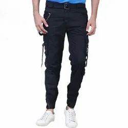Cotton/Linen Mens Black Cargo Pant, Size: 28-36 Inch