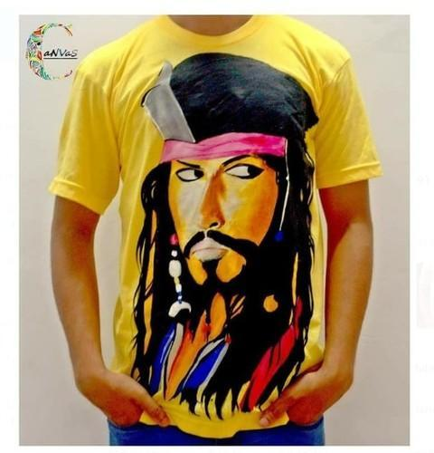 35bc5658 Cotton Handpainted Yellow Captain Jack Sparrow Tee Shirt, Rs 350 ...