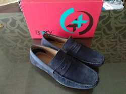 TPR Sole Leather Blue Loafer Shoes