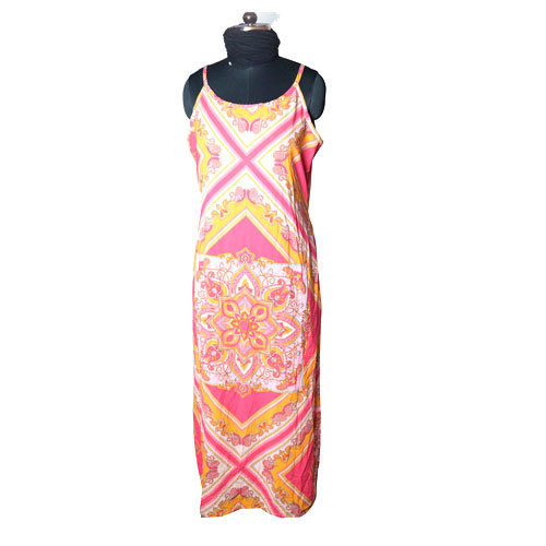 Orange Printed Fancy Gown Dress