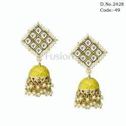 Designer Ethnic Kundan Jhumka Earring