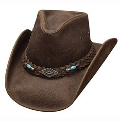 TM Exports Brown Mens Leather Hat