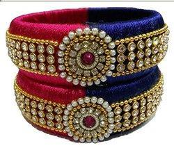 indian pink and Blue Silk Thread Bangle