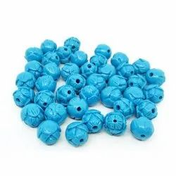 Blue Rose Bud Synthetic Coral Beads