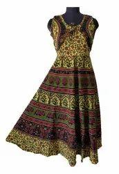 Printed Multicolor Cotton Jaipuri Print Jacket Dress, Machine wash, Size: Free Size