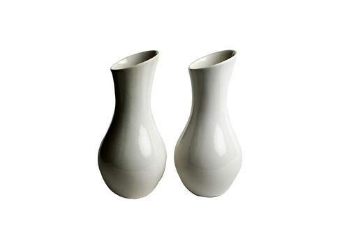 Caffeine Handmade White Glazed Spherical Vases Set Of 2 For Home
