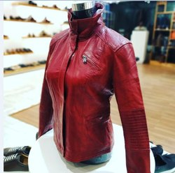 Full Sleeve Plain Red Eye Ladies Leather Jacket