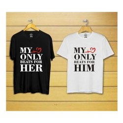 Cotton Black And White Custom Print Couple T Shirt
