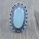 925 STERLING SILVER JEWELRY CHALCEDONY GEMSTONE NEW FASHION RING WR-5200