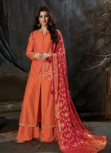 4e934e44f7 Banarasi Silk Embroidered Semi-Stitched Party Wear Palazzo Suit, Rs ...