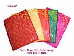 Single Saree Cover Silk Embroidery