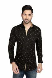 Axplore Cotton Black Printed Shirt