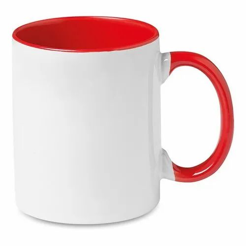 White,Red Ceramic Red Inner Handle Mug, for Office, Packaging Type: Box