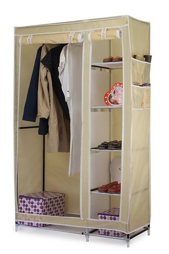 b30f77b61 Fabric and steel Cream 110 cm Collapsible Folding Almirah Rack Wardrobe  Cabinet