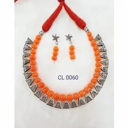Cl Code Semi Precious Agate Beads & Oxidised Loop Cotton Dori Fashionable Contemporary Necklace Set